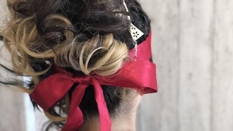 しゃんしゃん祭りのヘアセットを